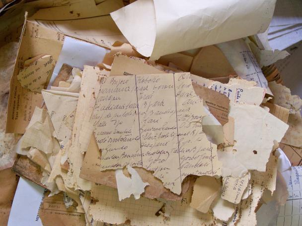 Damaged archival records.